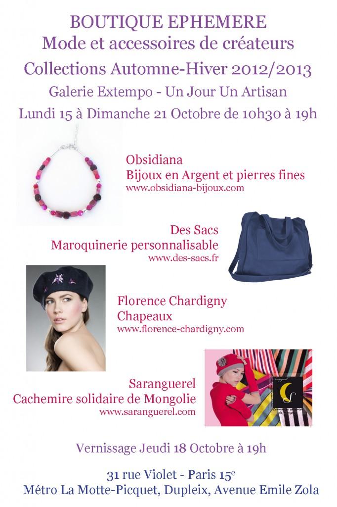 Flyer Boutique ephemere Octobre 2012